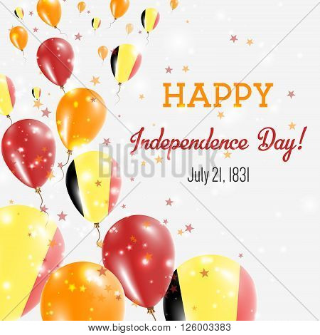 Belgium Independence Day Greeting Card. Flying Balloons In Belgium National Colors. Happy Independen