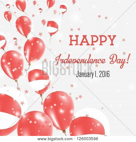 Greenland Independence Day Greeting Card. Flying Balloons In Greenland National Colors. Happy Indepe