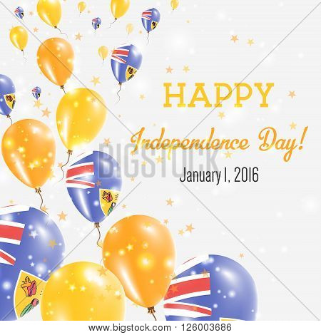 Turks And Caicos Islands Independence Day Greeting Card. Flying Balloons In Turks And Caicos Islands