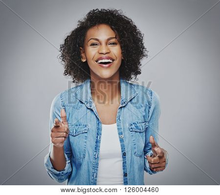 Gorgeous Woman Singing And Gesturing With Fingers