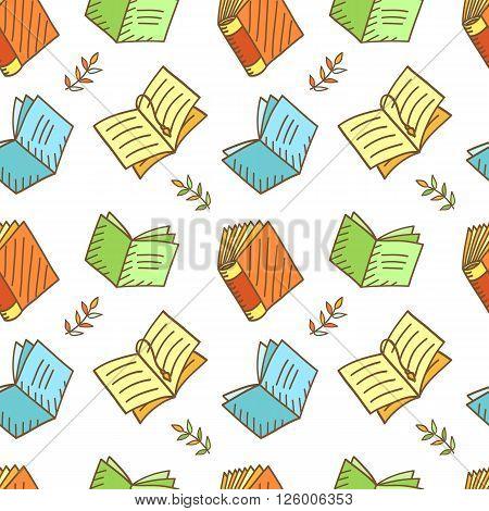 Seamless Book Pattern. Sketchy Doodles Elements, Vector Illustration poster