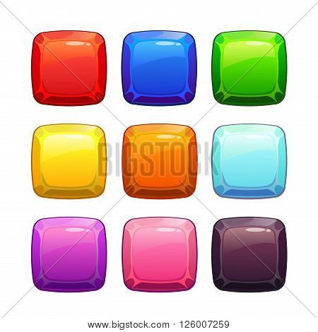 Cartoon colorful glossy stone square buttons set, isolated on white, vector assets for game design, GUI elements