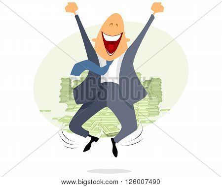 Vector illustration of a happy businessmen jumping