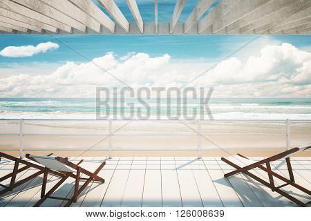 Several chaise longues under awning at the seaside. 3D Rendering