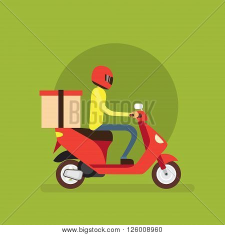Delivery Boy Ride Scooter Motorcycle Flat Vector Illustration