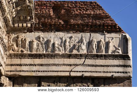 Detail of frieze from ancient Forum of Nerva in the center of rome, with Minerva goddess