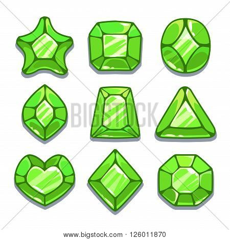 Cartoon green different shapes gems set, game ui assets,  isolated on white