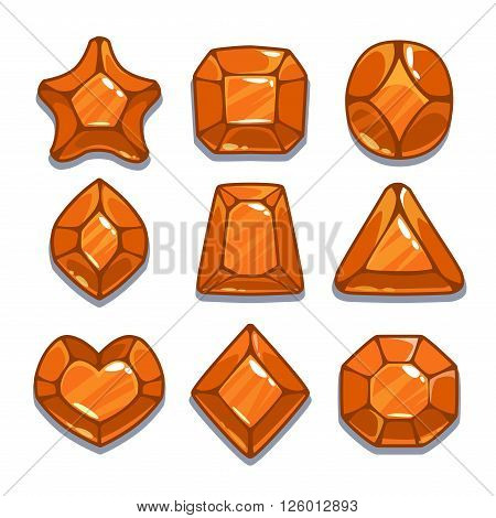 Cartoon orange different shapes gem set, game ui assets,  isolated on white