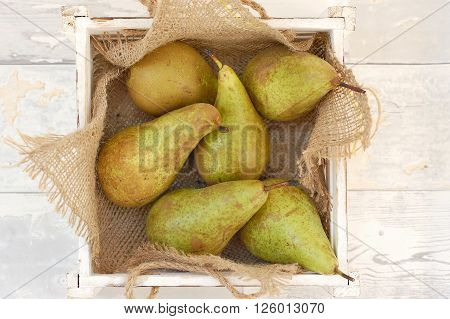 Pears On The Gunny Cloth In The Box