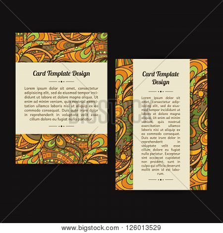 Set of two universal card template designs perfect for brochure covers leaflets flyers cards and invitations. Green eco. Spring or summer event announcement flyer card.