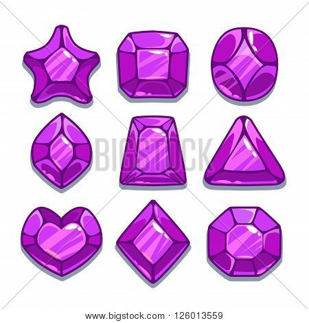 Cartoon purple different shapes gems set, game ui assets,  isolated on white