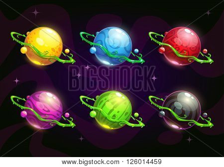Funny colorful fantasy planets set on cosmic background. Vector space illustration. GUI items