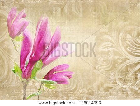 Antique wall in grunge style with meander capitals friezes and flower magnolia. Art deco figures carved on stone as decoration on a facade building. Fragment of ornate relief with magnolia flower.