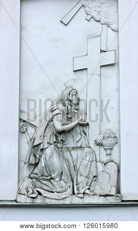 SAINT-PETERSBURG, RUSSIA - DECEMBER 2, 2015: Bas-relief repentant sinner on the wall of the Church of great martyr St Panteleimon the Healer in St. Petersburg