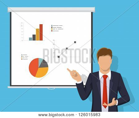 Business Plan Planning Strategy Meeting Conference Seminar Concept Development. Corporate consulting, business management, financial planning, professional support. Flat design vector illustration