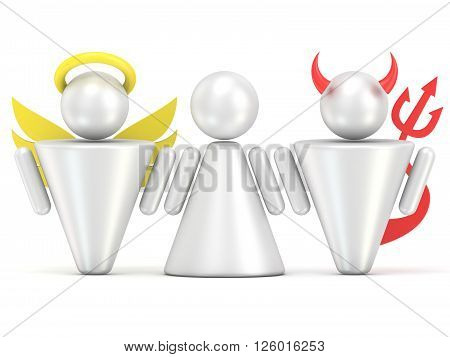 Temptation concept. Woman angel and devil figures. 3D render illustration isolated on white background