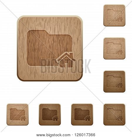 Set of carved wooden home folder buttons in 8 variations.