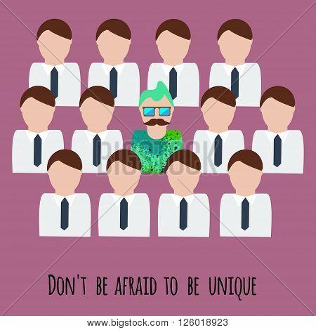 Dont be afraid to be unique motivation illustration. Creative unique man among office men