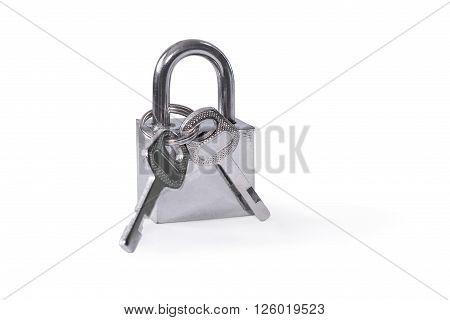 Hinged lock. Isolated on white background. Close-up.