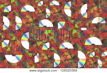 CD on carpet. Sing your favorite song.   The picture shows the cover of the disc - CD  by east patterns. This cover can be used for many CD.