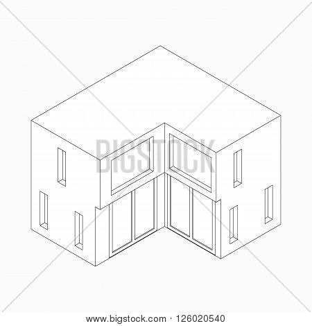 Maisonette icon in isometric 3d style isolated on white background