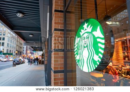 NEW YORK - CIRCA MARCH 2016: logo of Starbucks Cafe. Starbucks Corporation is an American global coffee company and coffeehouse chain based in Seattle, Washington