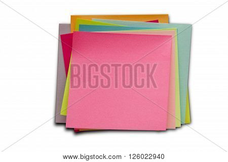Blank Sticky Notes. Write your message. Colorful sticky notes isolated on white.