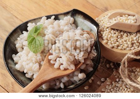 Cooked barley for health and raw barley