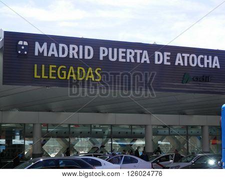 Madrid, Spain April 7 2016. Arrival area in Madrid Atocha Railway station. Madrid, Spain April 7 2016.