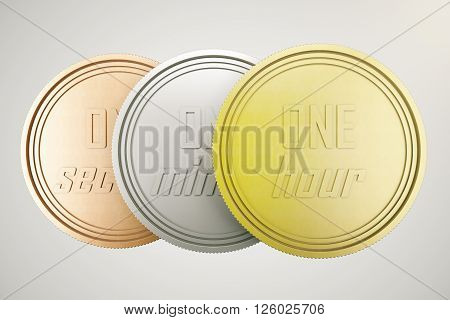 Time is money concept with time coins in gold silver and copper isolated on light background. 3D Rendering