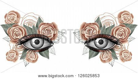Look of the spring photorealistic eye artistic makeup with flowers rose