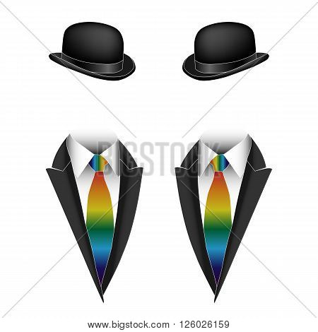 Vector illustration of gay homosexual couple non-traditional sexual orientation
