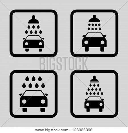 Carwash vector icon. Image style is a flat icon symbol inside a square rounded frame, black color, light gray background.