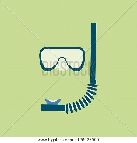 Diving Mask Icon. Mask and tube for diving vector illustration isolated on green background
