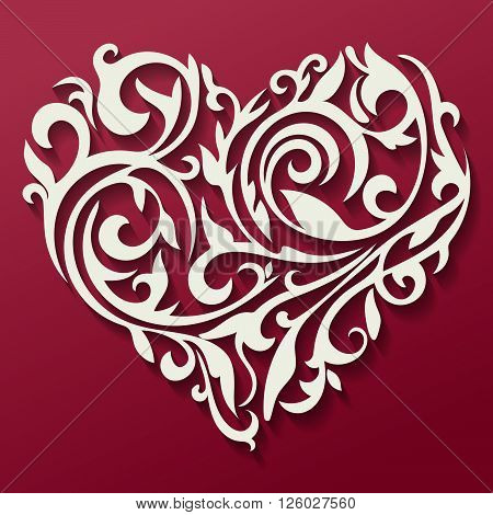 Pattern in the form of heart. Floral heart. Tracery heart. Vector.