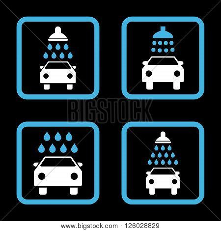 Carwash vector bicolor icon. Image style is a flat icon symbol inside a square rounded frame, blue and white colors, black background.
