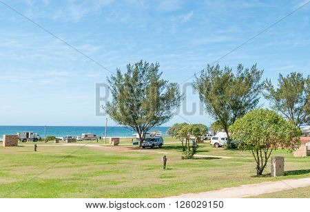 JEFFREYS BAY SOUTH AFRICA - FEBRUARY 28 2016: A caravan park in Jeffreys Bay in the Eastern Cape Province of South Africa