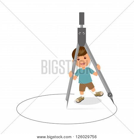 Cheerful boy with pair of compasses. Concept design of a schoolboy holds circinus. Template background for Teachers' Day or Children's Day.