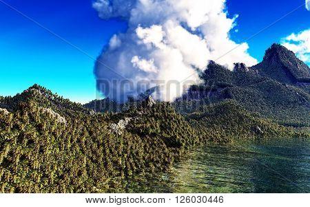 3d illustration of volcanic eruption on tropical island