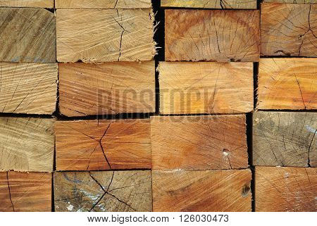 JOHOR, MALAYSIA -OCTOBER 21, 2015: Wood cut and stacked. Showing texture and grain of the wood.