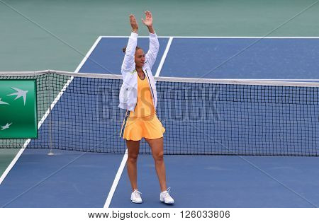 KYIV UKRAINE - APRIL 16 2016: Kateryna Bondarenko of Ukraine reacts after won the BNP Paribas FedCup match against Maria Irigoyen of Argentina at Campa Bucha Tennis Club in Kyiv Ukraine