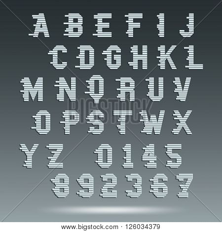 Font alphabet template. Letters and numbers. Vector illustration