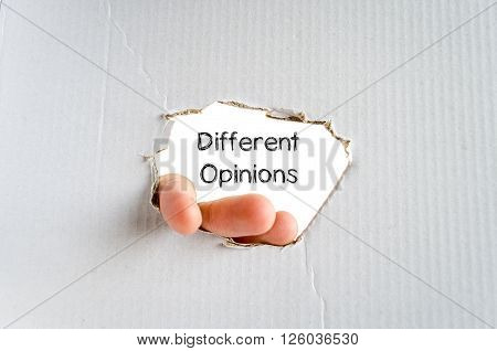 Different opinions note in business man hand