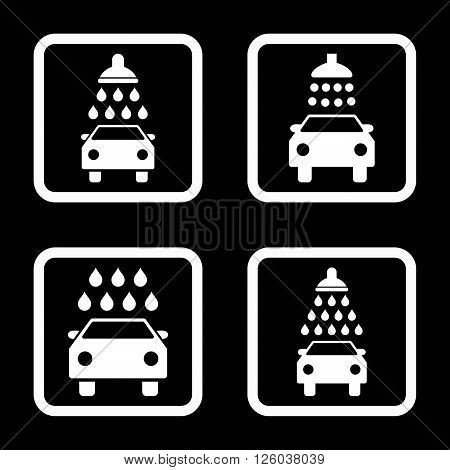 Carwash vector icon. Image style is a flat icon symbol inside a square rounded frame, white color, black background.