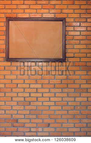 Blank Noticeboard Message On Brick Wall Background
