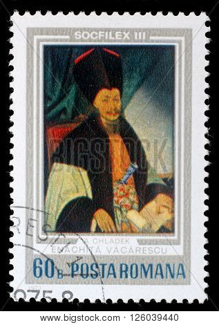 ROMANIA - CIRCA 1973: a stamp from Romania shows image of Ienachita Vacarescu, the Wallachian Romanian poet, historian and philologist, circa 1973
