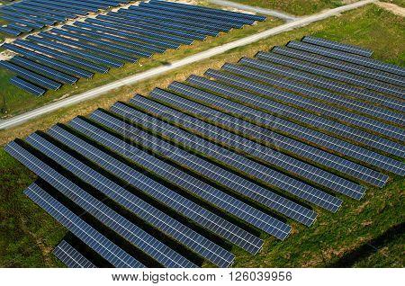 Solar farm, solar panels photography from the air