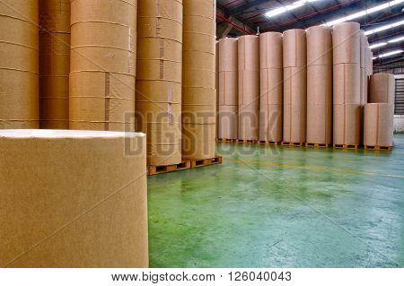 Paper factory manufacturing industrial, paper storage warehouse