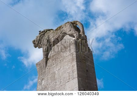 Lion on a tower in Remscheid Germany