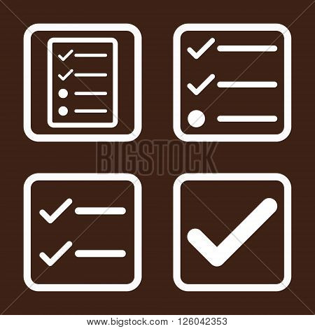 Valid vector icon. Image style is a flat icon symbol inside a square rounded frame, white color, brown background.